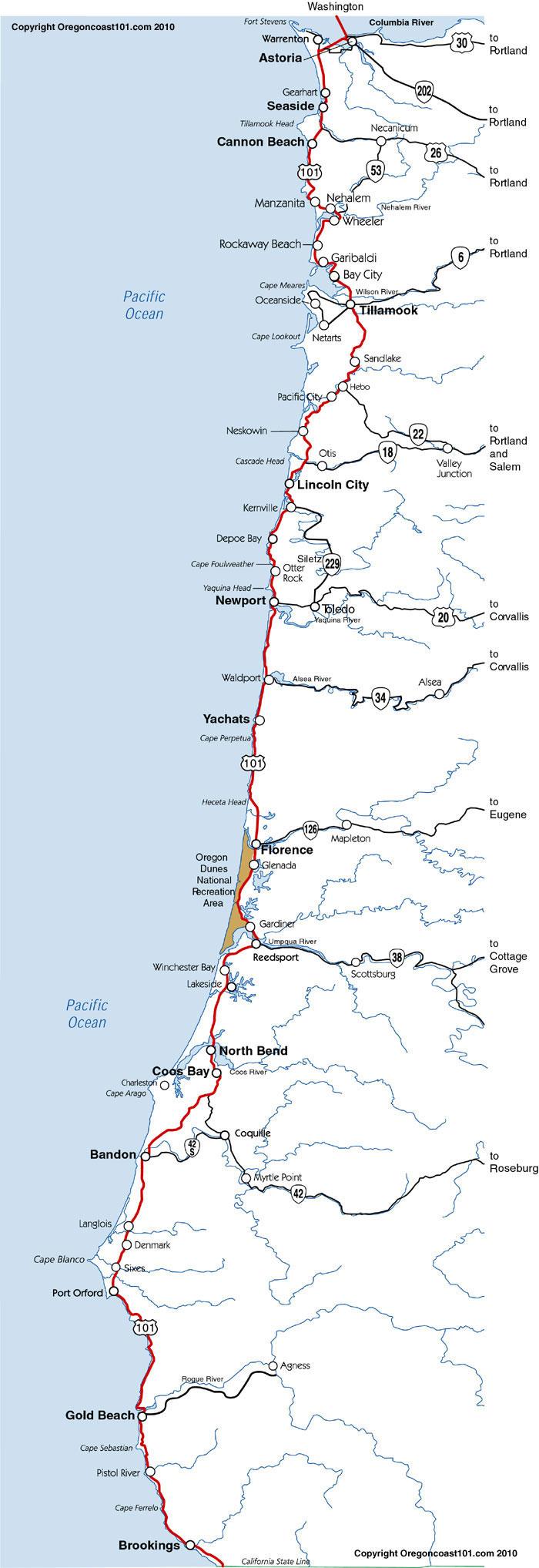 Map of Oregon Coast